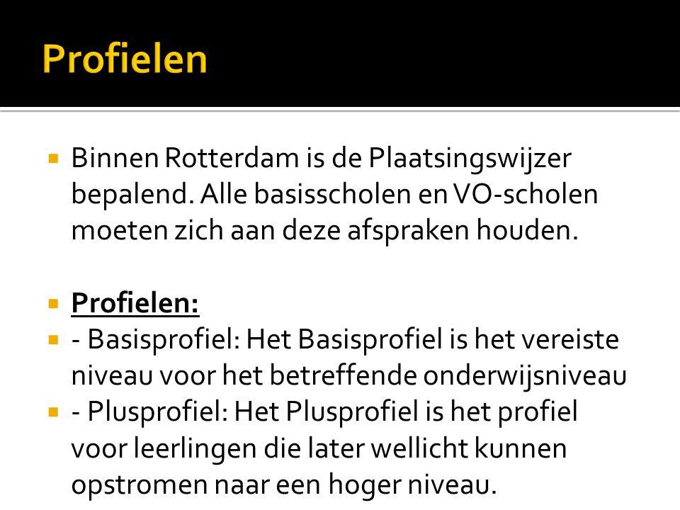 Profielen Binnen Rotterdam is de Plaatsingswijzer bepalend. Alle basisscholen en VO-scholen moeten zich aan deze afspraken houden.