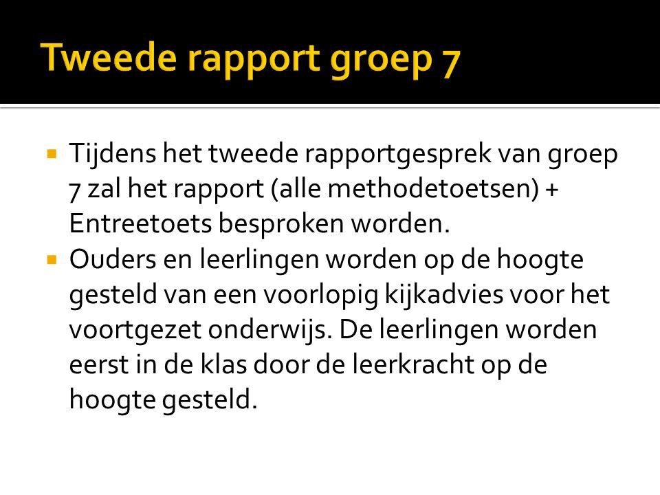 Tweede rapport groep 7 Tijdens het tweede rapportgesprek van groep 7 zal het rapport (alle methodetoetsen) + Entreetoets besproken worden.