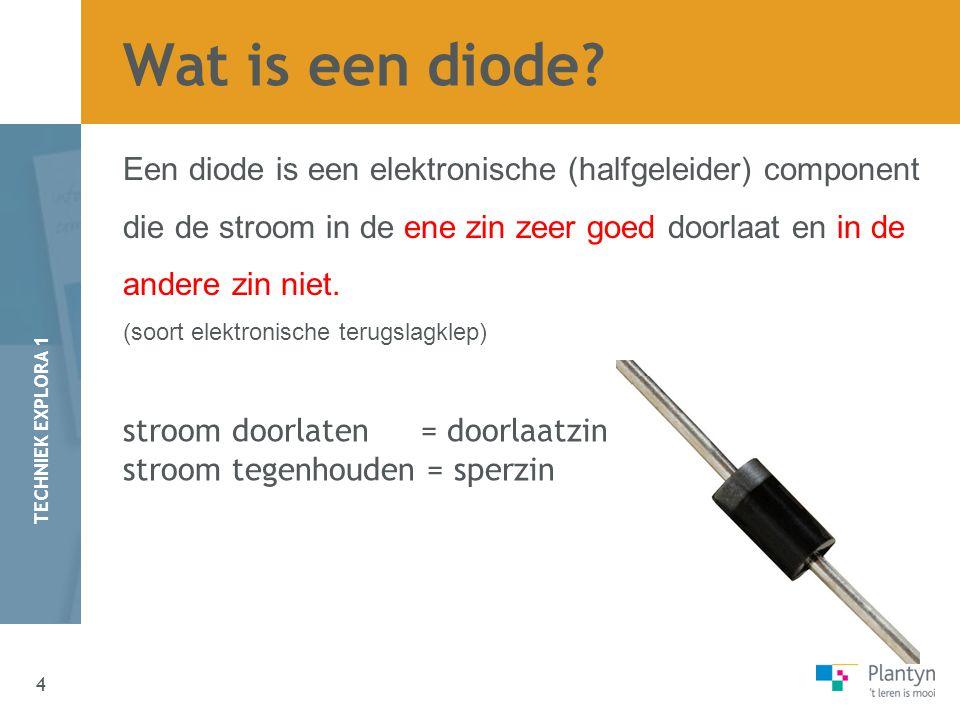Wat is een diode Een diode is een elektronische (halfgeleider) component. die de stroom in de ene zin zeer goed doorlaat en in de.