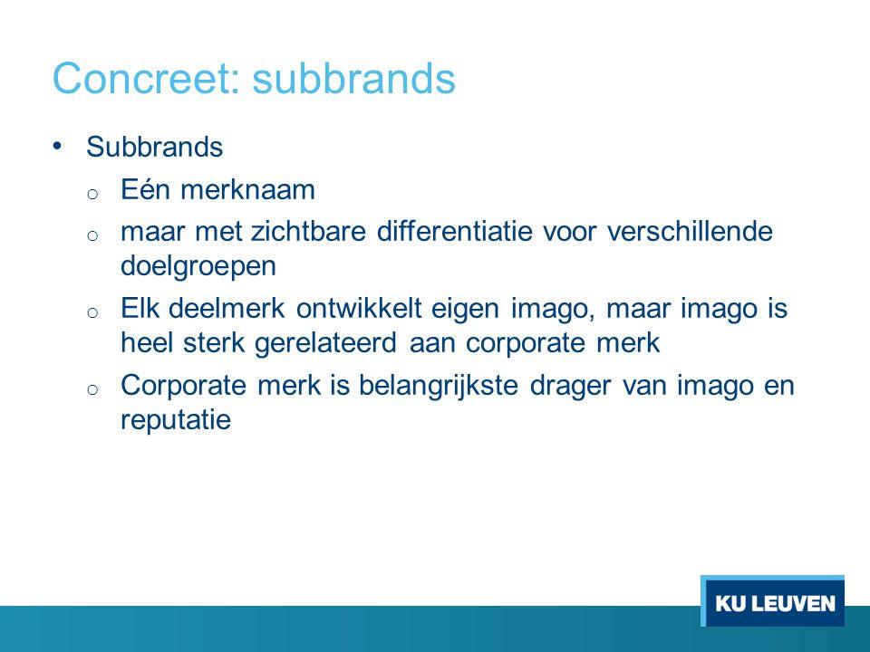 Concreet: subbrands Subbrands Eén merknaam