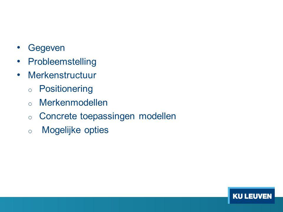 Gegeven Probleemstelling. Merkenstructuur. Positionering. Merkenmodellen. Concrete toepassingen modellen.