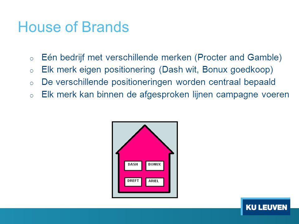 House of Brands Eén bedrijf met verschillende merken (Procter and Gamble) Elk merk eigen positionering (Dash wit, Bonux goedkoop)