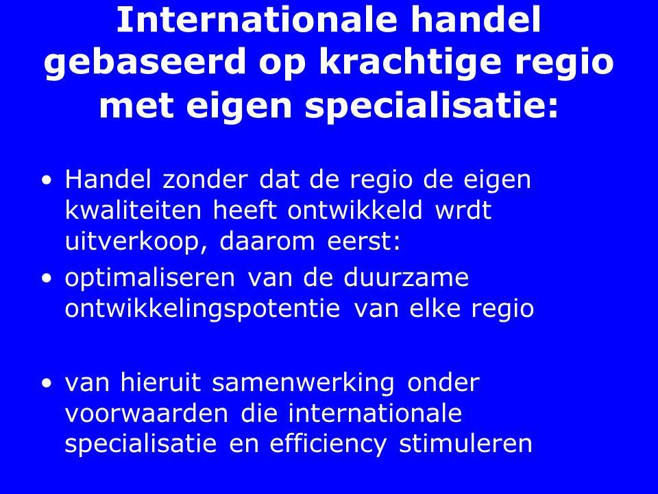Internationale handel gebaseerd op krachtige regio met eigen specialisatie: