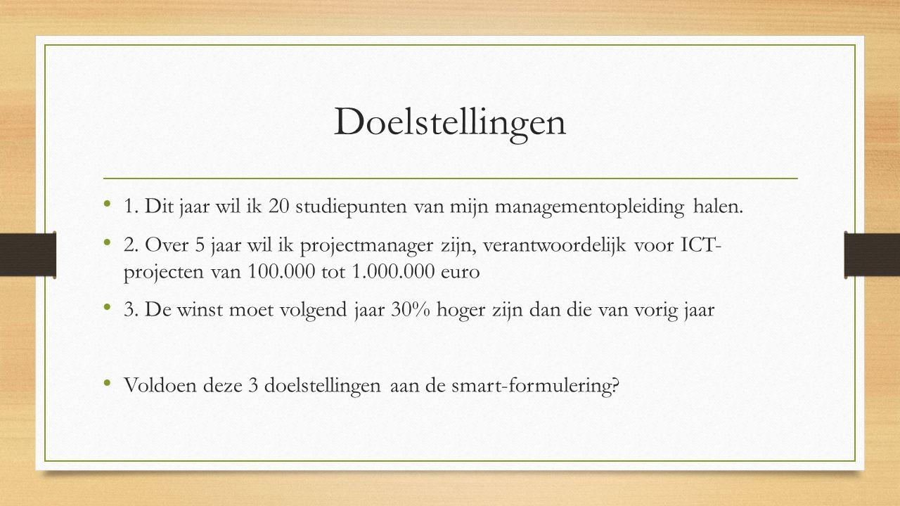 Doelstellingen 1. Dit jaar wil ik 20 studiepunten van mijn managementopleiding halen.