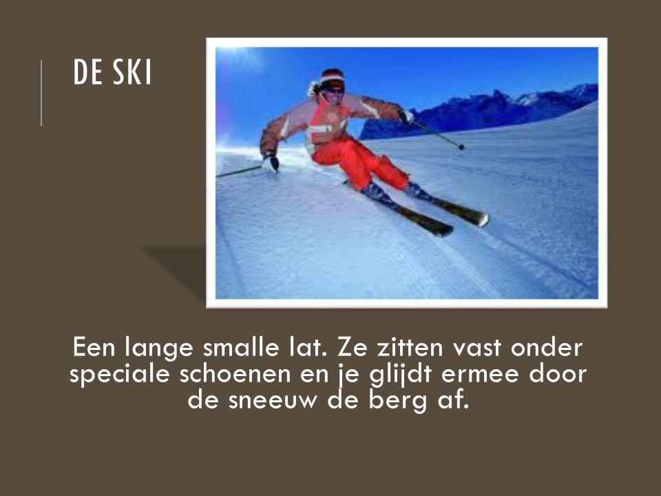 De ski Een lange smalle lat.