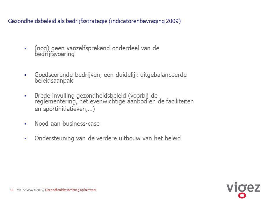 Gezondheidsbeleid als bedrijfsstrategie (indicatorenbevraging 2009)