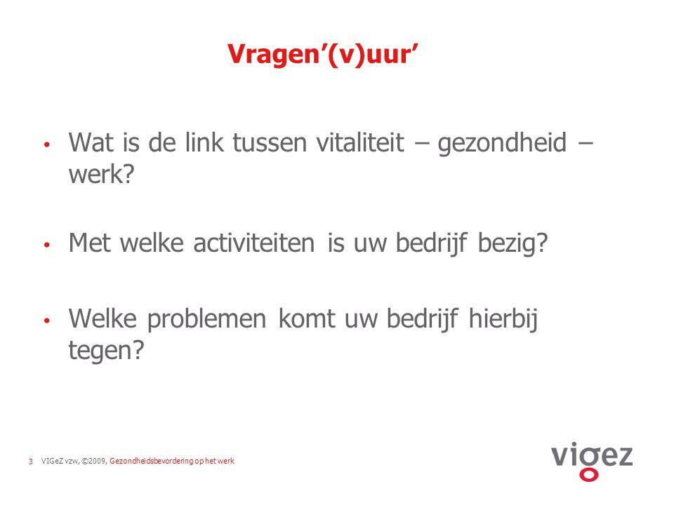 Vragen'(v)uur' Wat is de link tussen vitaliteit – gezondheid – werk Met welke activiteiten is uw bedrijf bezig