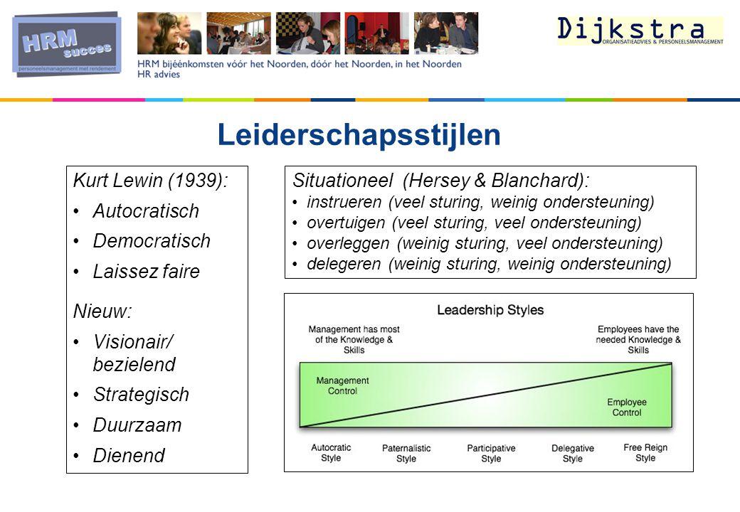 Leiderschapsstijlen Kurt Lewin (1939): Autocratisch Democratisch