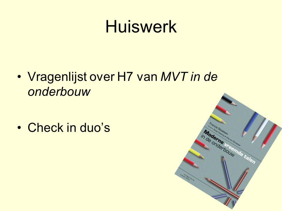 Huiswerk Vragenlijst over H7 van MVT in de onderbouw Check in duo's