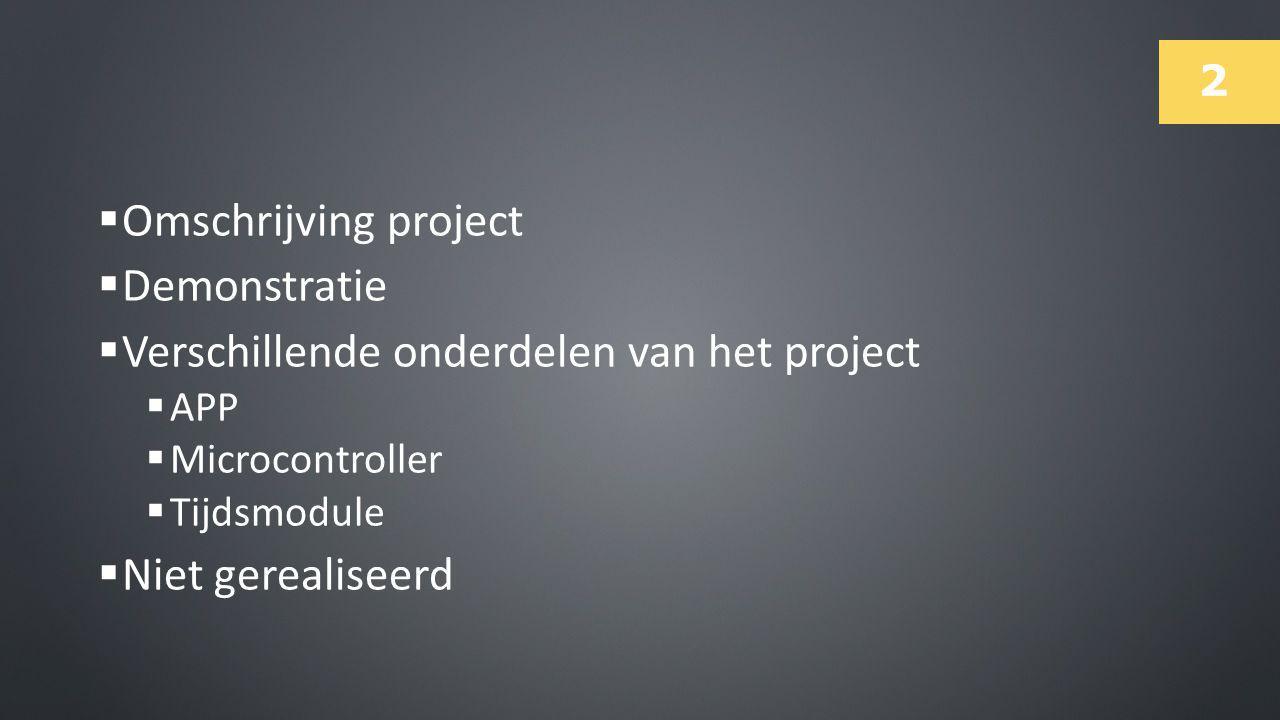 Verschillende onderdelen van het project