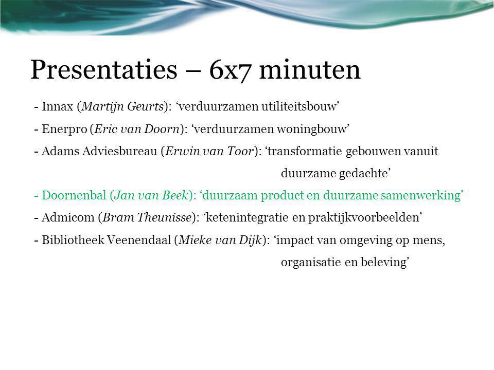 Presentaties – 6x7 minuten