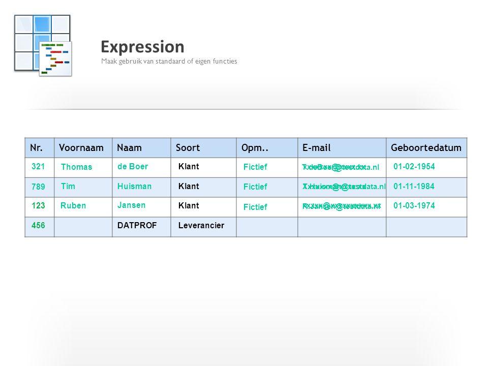 Expression Nr. Voornaam Naam Soort Opm.. E-mail Geboortedatum 321