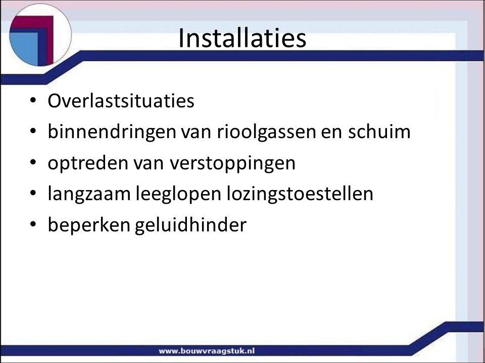 Installaties Overlastsituaties binnendringen van rioolgassen en schuim