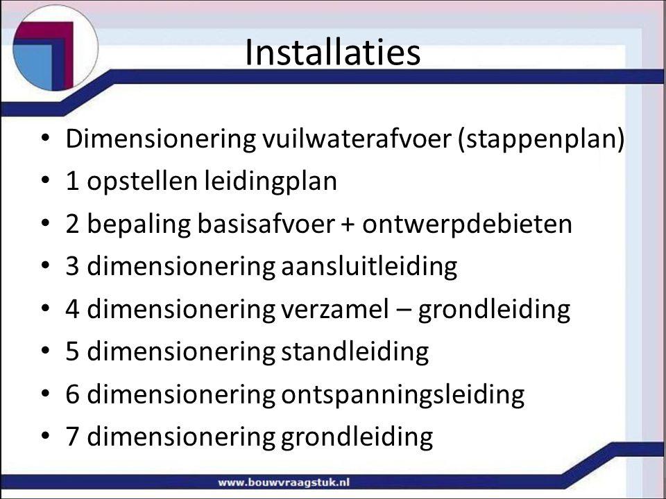 Installaties Dimensionering vuilwaterafvoer (stappenplan)