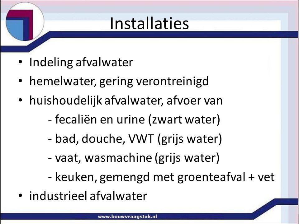 Installaties Indeling afvalwater hemelwater, gering verontreinigd