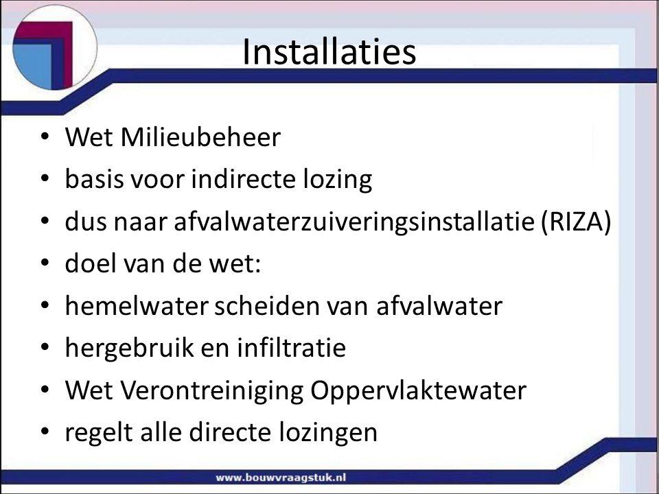 Installaties Wet Milieubeheer basis voor indirecte lozing