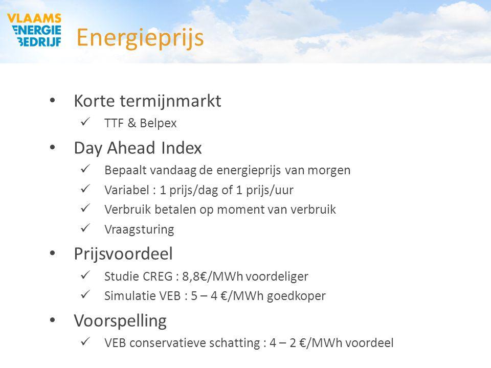 Energieprijs Korte termijnmarkt Day Ahead Index Prijsvoordeel