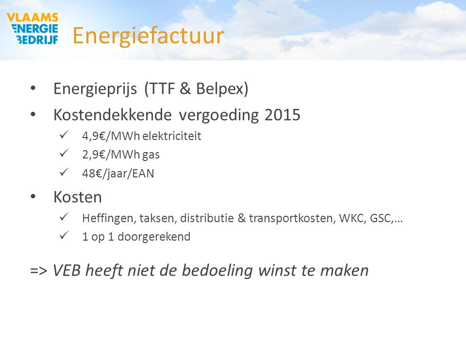 Energiefactuur Energieprijs (TTF & Belpex)