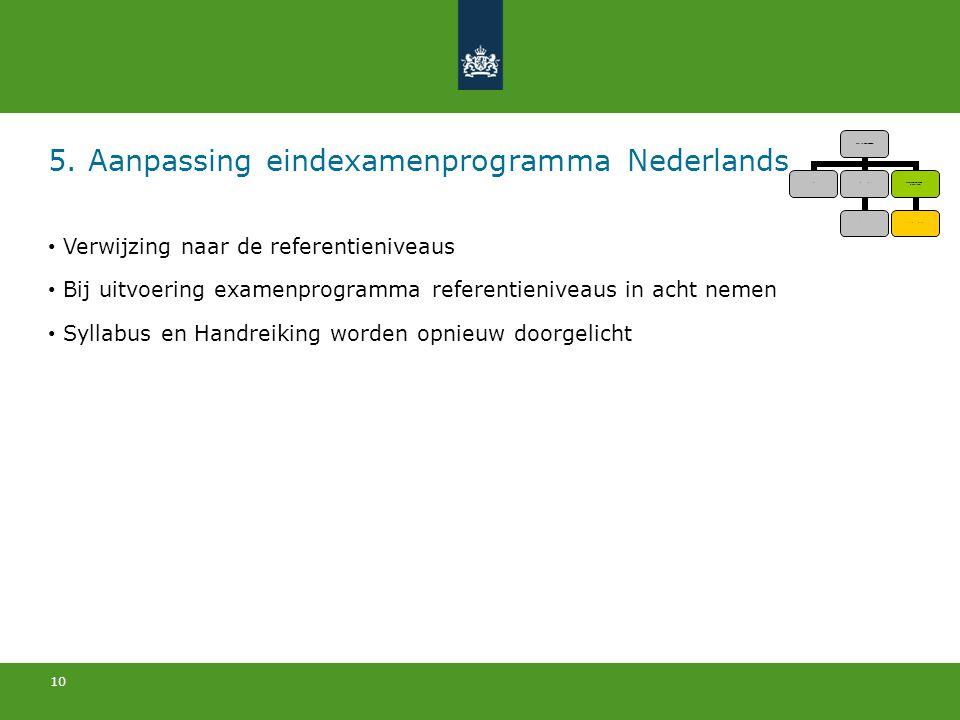 5. Aanpassing eindexamenprogramma Nederlands