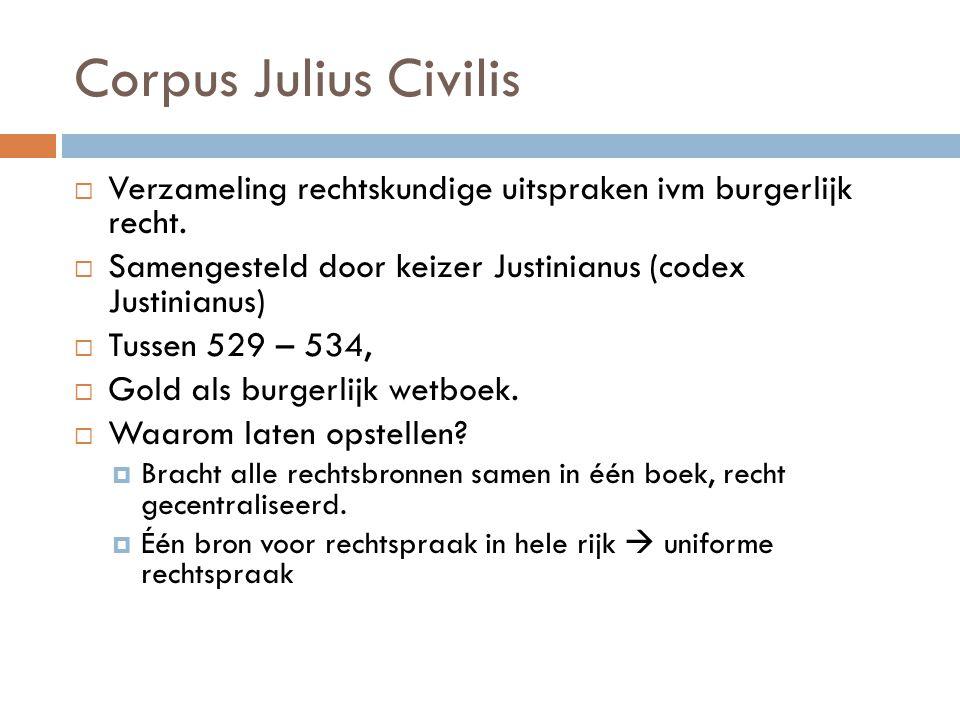 Corpus Julius Civilis Verzameling rechtskundige uitspraken ivm burgerlijk recht. Samengesteld door keizer Justinianus (codex Justinianus)