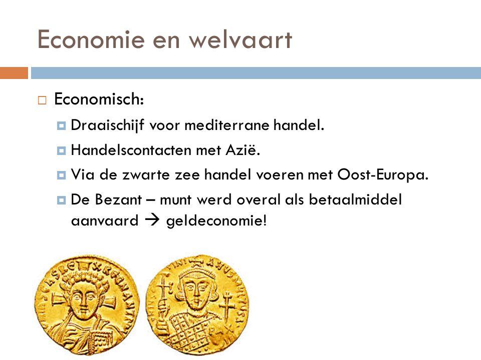 Economie en welvaart Economisch: Draaischijf voor mediterrane handel.
