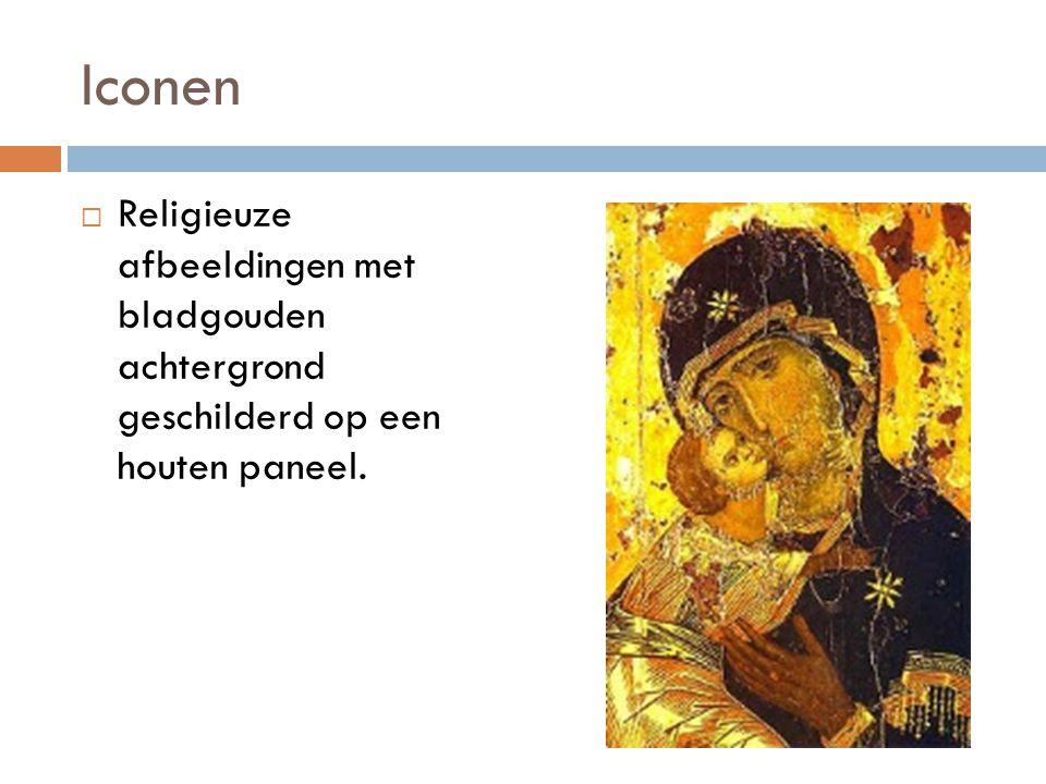 Iconen Religieuze afbeeldingen met bladgouden achtergrond geschilderd op een houten paneel.