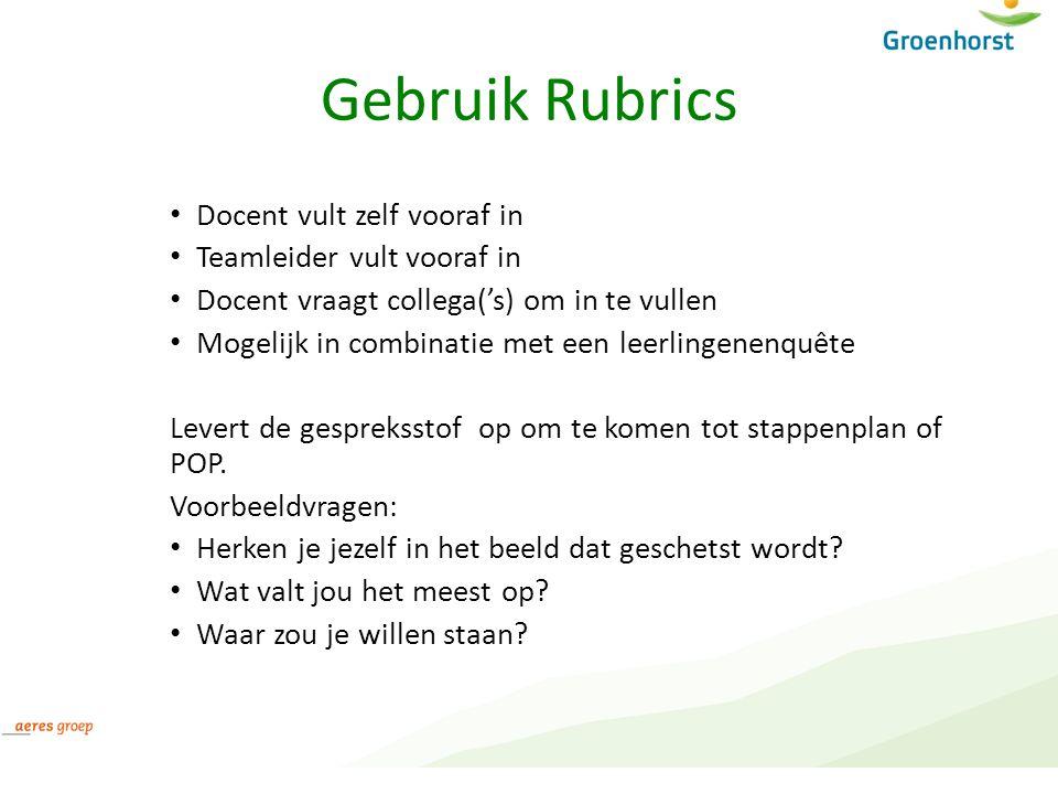 Gebruik Rubrics Docent vult zelf vooraf in Teamleider vult vooraf in