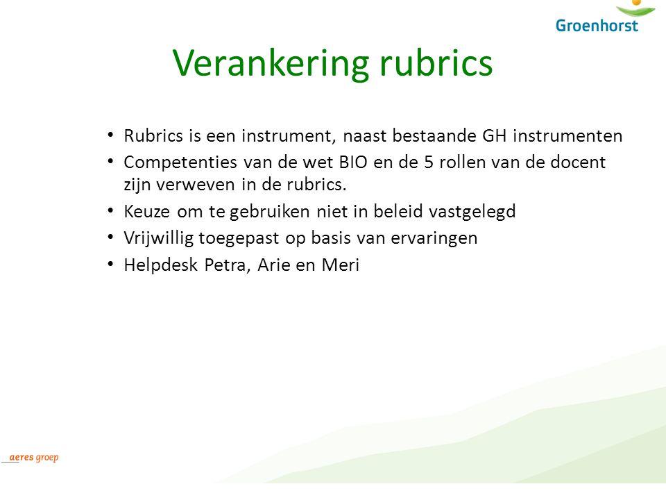 Verankering rubrics Rubrics is een instrument, naast bestaande GH instrumenten.
