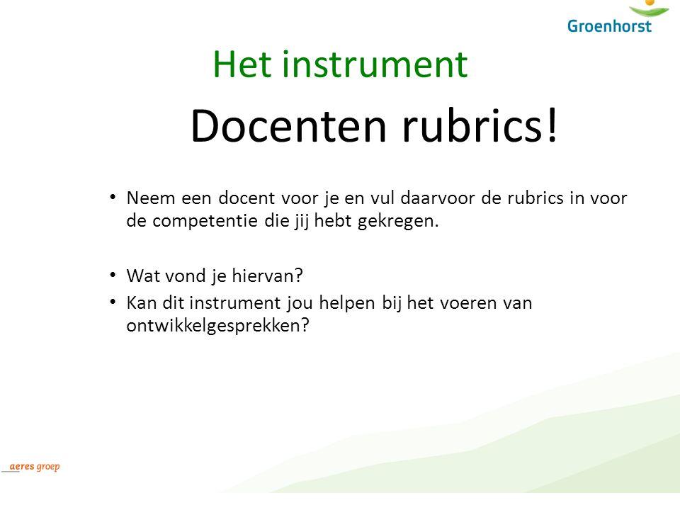 Docenten rubrics! Het instrument