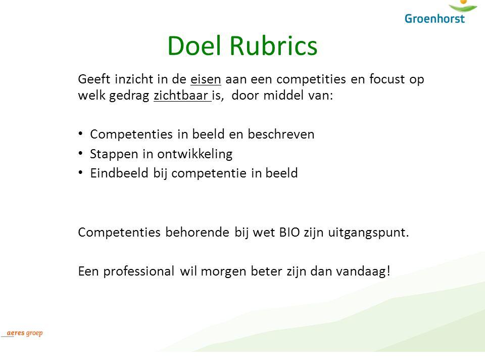 Doel Rubrics Geeft inzicht in de eisen aan een competities en focust op welk gedrag zichtbaar is, door middel van: