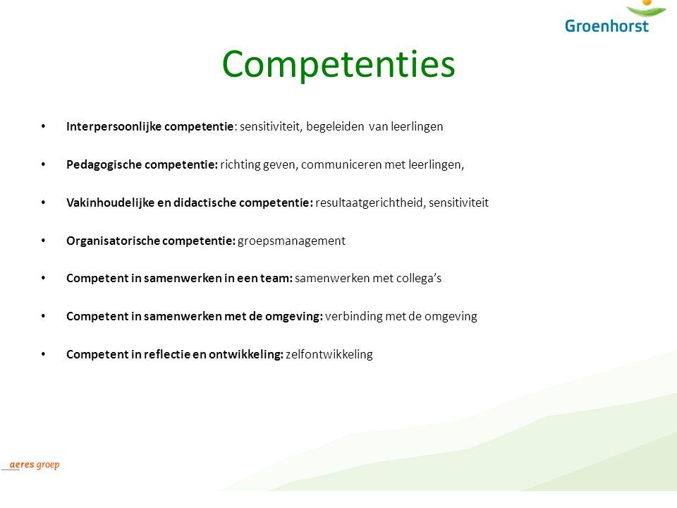Competenties Interpersoonlijke competentie: sensitiviteit, begeleiden van leerlingen.