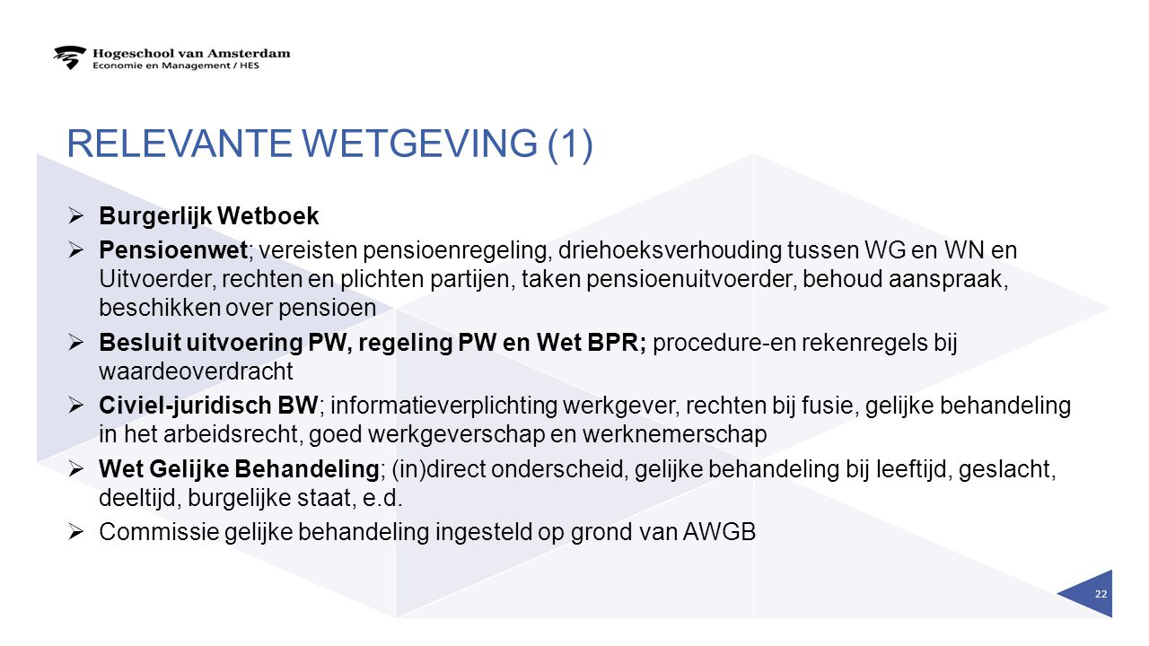 Relevante wetgeving (1)