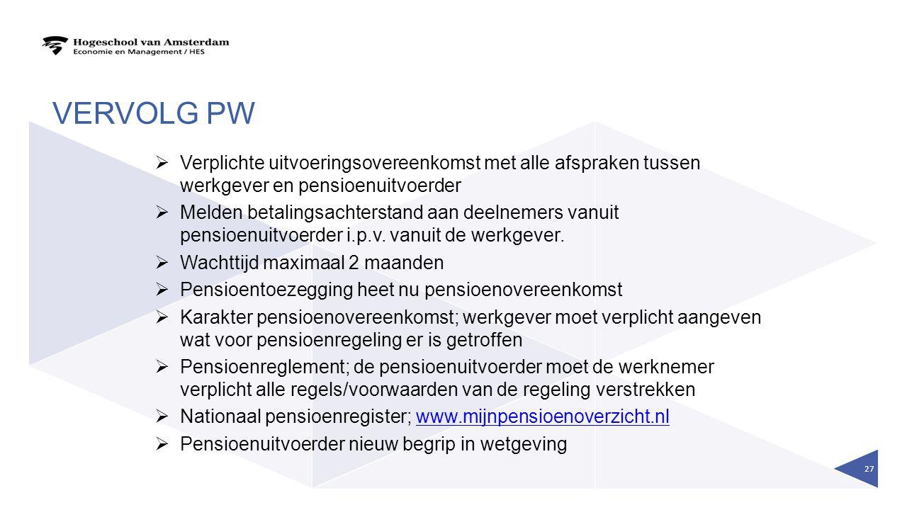 Vervolg PW Verplichte uitvoeringsovereenkomst met alle afspraken tussen werkgever en pensioenuitvoerder.