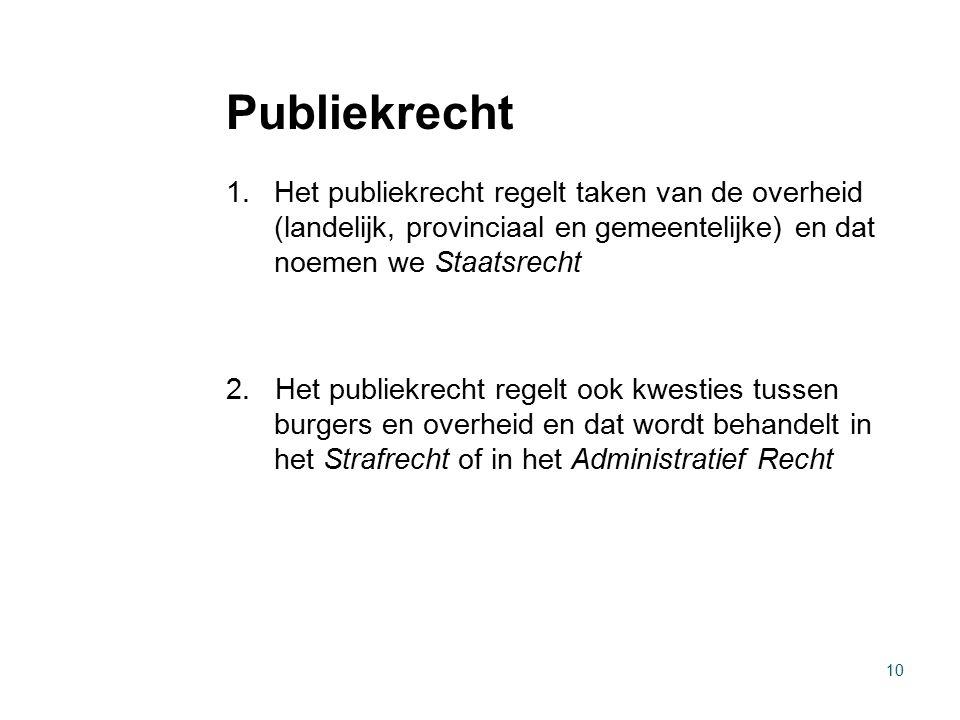 Publiekrecht Het publiekrecht regelt taken van de overheid (landelijk, provinciaal en gemeentelijke) en dat noemen we Staatsrecht.
