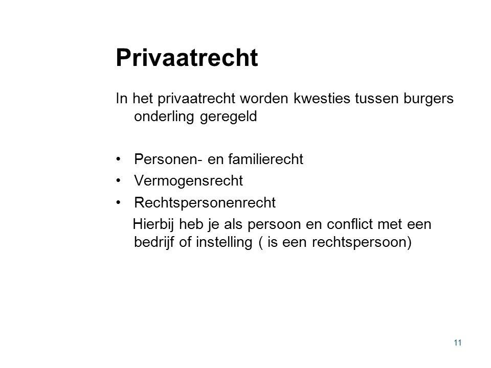 Privaatrecht In het privaatrecht worden kwesties tussen burgers onderling geregeld. Personen- en familierecht.