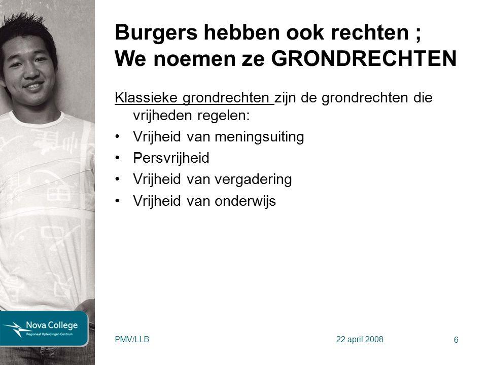 Burgers hebben ook rechten ; We noemen ze GRONDRECHTEN