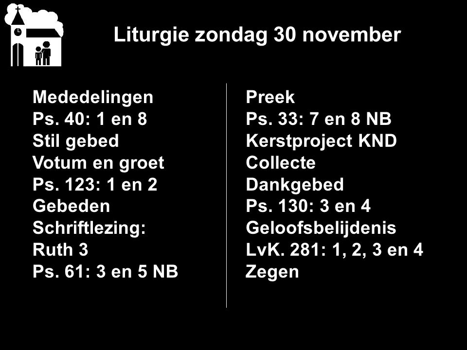 Liturgie zondag 30 november