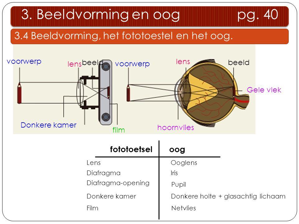 3. Beeldvorming en oog pg. 40 3.4 Beeldvorming, het fototoestel en het oog. voorwerp.
