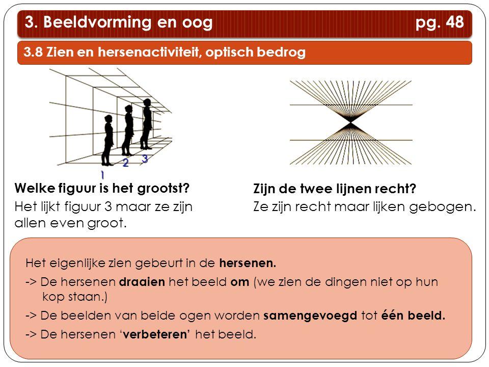 3. Beeldvorming en oog pg. 48 3.8 Zien en hersenactiviteit, optisch bedrog.