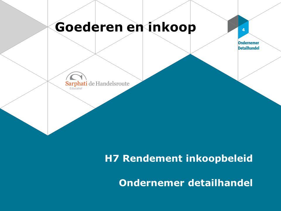Goederen en inkoop H7 Rendement inkoopbeleid Ondernemer detailhandel