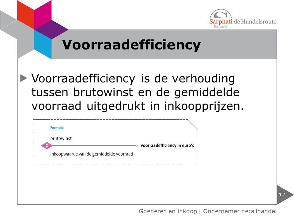 Voorraadefficiency Voorraadefficiency is de verhouding tussen brutowinst en de gemiddelde voorraad uitgedrukt in inkoopprijzen.