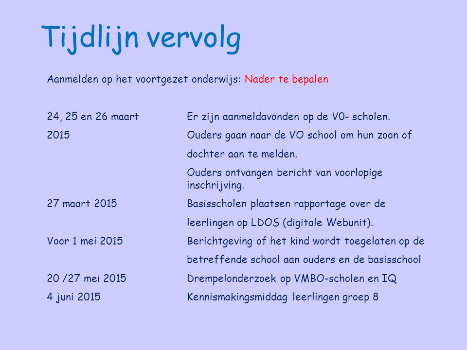 Tijdlijn vervolg Aanmelden op het voortgezet onderwijs: Nader te bepalen. 24, 25 en 26 maart Er zijn aanmeldavonden op de V0- scholen.