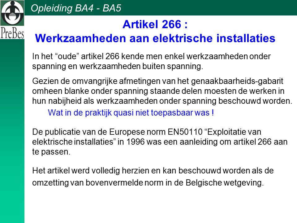 Artikel 266 : Werkzaamheden aan elektrische installaties