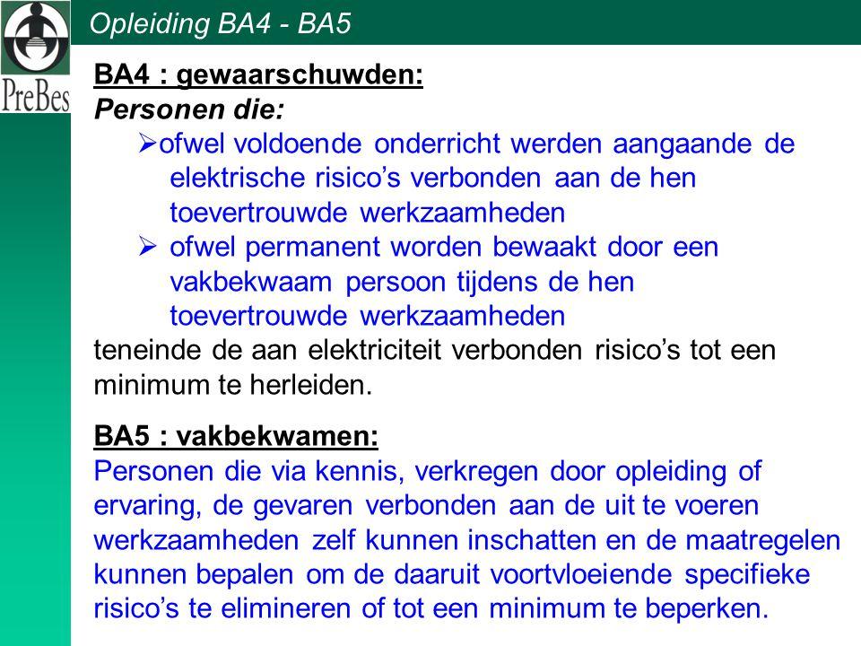 BA4 : gewaarschuwden: Personen die: