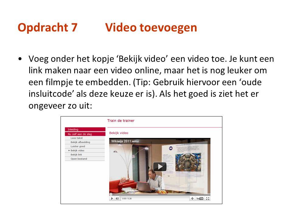 Opdracht 7 Video toevoegen