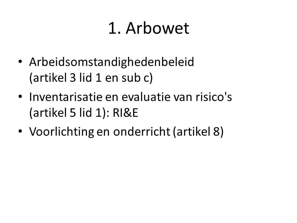 1. Arbowet Arbeidsomstandighedenbeleid (artikel 3 lid 1 en sub c)
