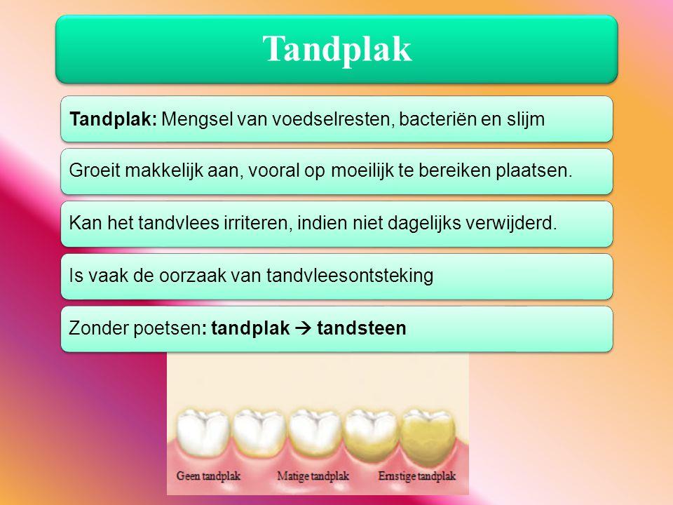 Tandplak Tandplak: Mengsel van voedselresten, bacteriën en slijm