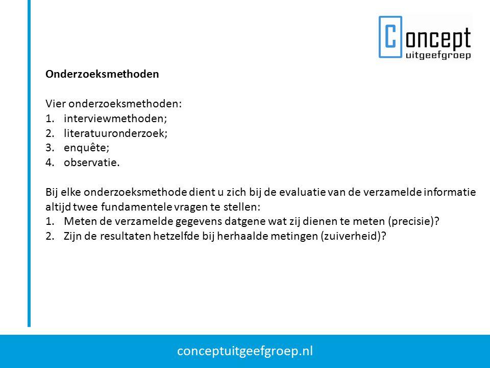 Onderzoeksmethoden Vier onderzoeksmethoden: interviewmethoden; literatuuronderzoek; enquête; observatie.