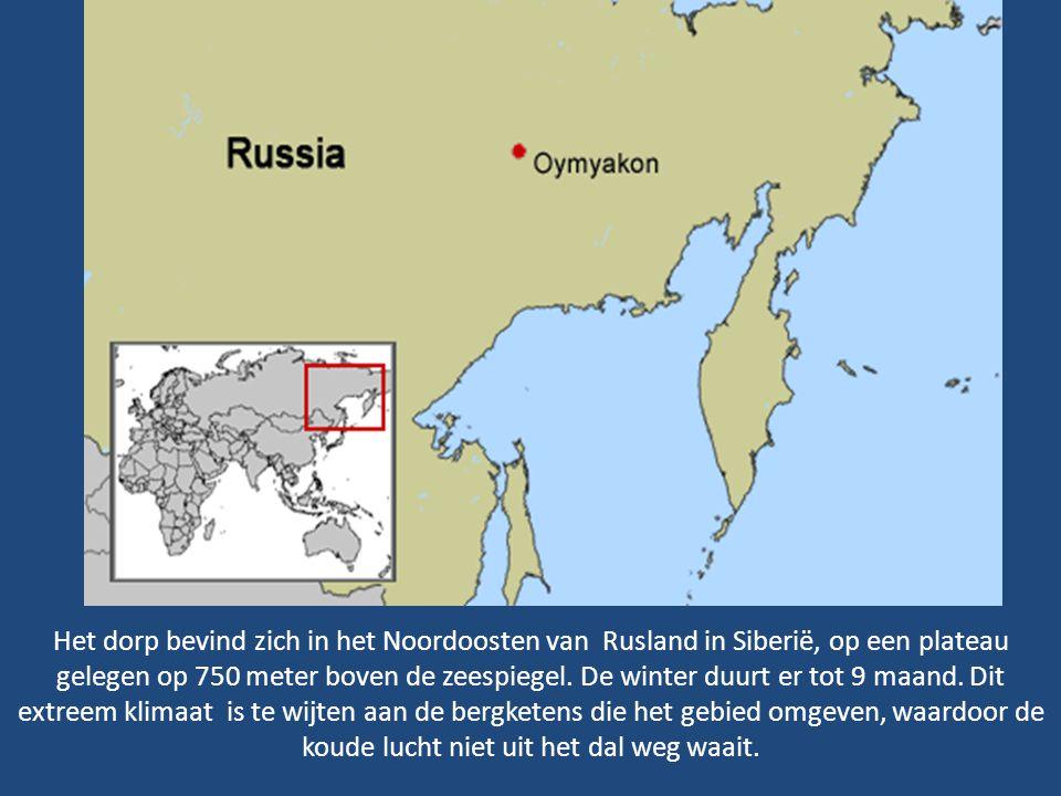 Het dorp bevind zich in het Noordoosten van Rusland in Siberië, op een plateau gelegen op 750 meter boven de zeespiegel.