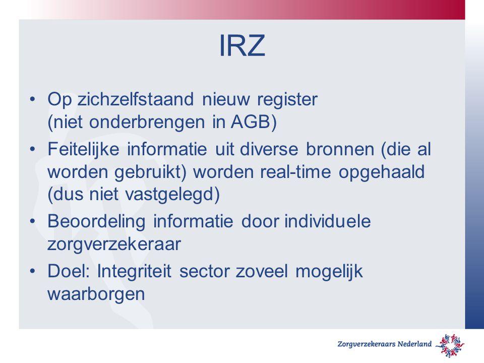 IRZ Op zichzelfstaand nieuw register (niet onderbrengen in AGB)